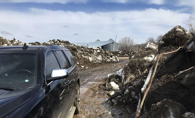 Flooded SUV and homestead